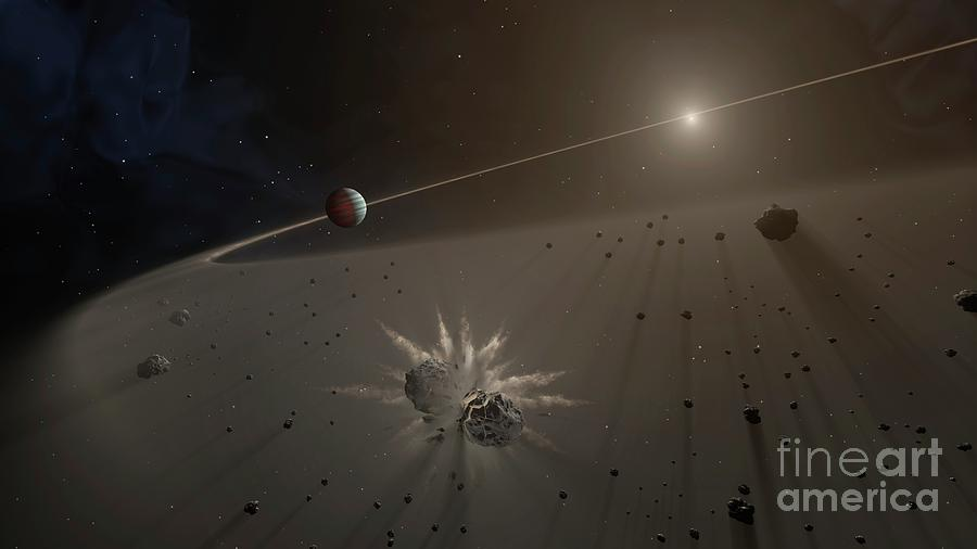 Exoplanet Photograph - Giant Exoplanet And Debris Disk by Nasa/jpl-caltech/t. Pyle (ipac)/science Photo Library