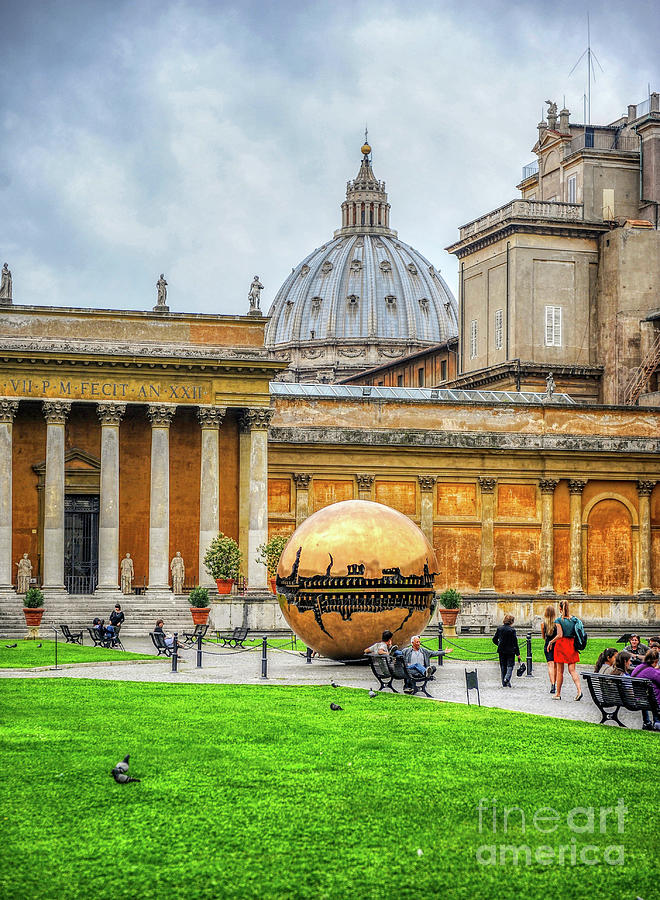 Vatican Museum Photograph - Giant Fractured Sphere Under The Dome Of St. Peter - Vatican City by Stefano Senise
