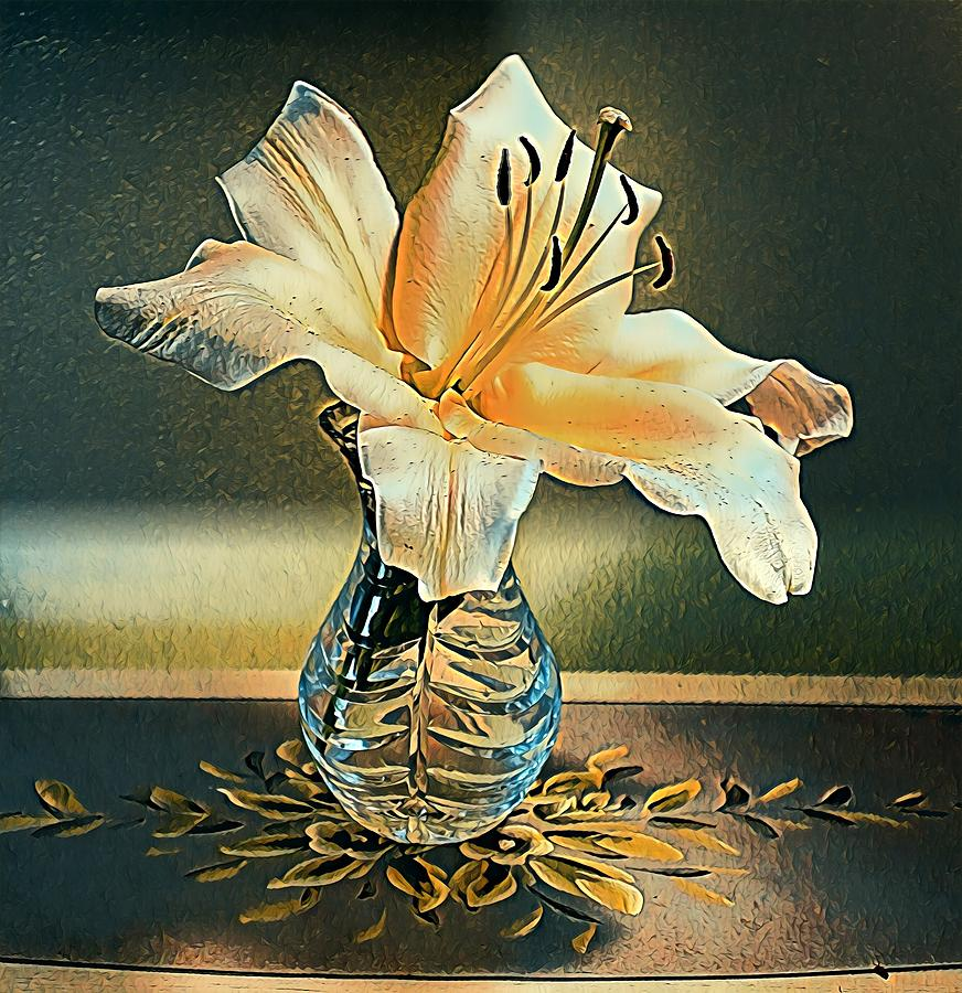 Giant Lilly in Crystal Vase by Sarah Hanley