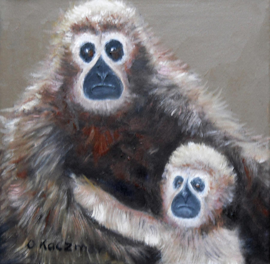 Gibbon Mom and Babe by Olga Kaczmar