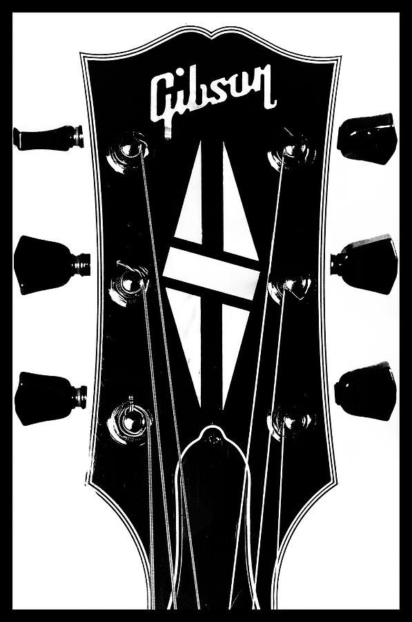 Gibson Headstock Black and White by Christopher Cutter