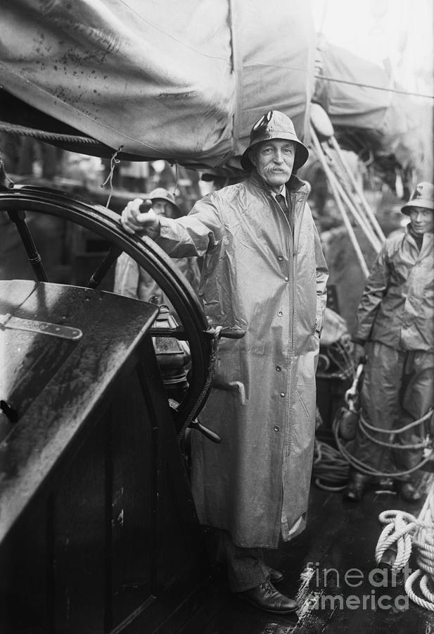 Gifford Pinchot Posing At Wheel Of Yacht Photograph by Bettmann