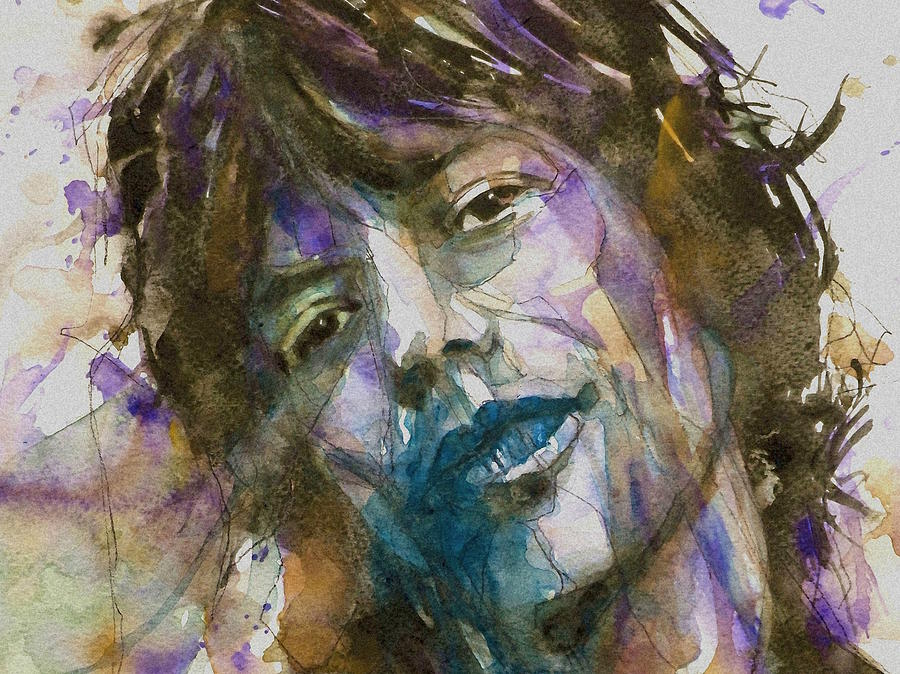 The Rolling Stones Painting - Gimme Shelter - Mick Jagger - Resize Crop  by Paul Lovering