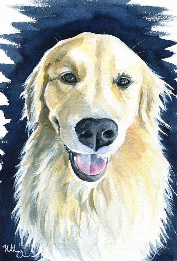 Gina Golden Retriever Painting by Dora Hathazi Mendes