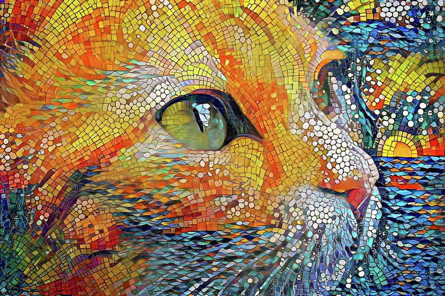 Ginger Cat at the Beach Mosaic Art by Peggy Collins
