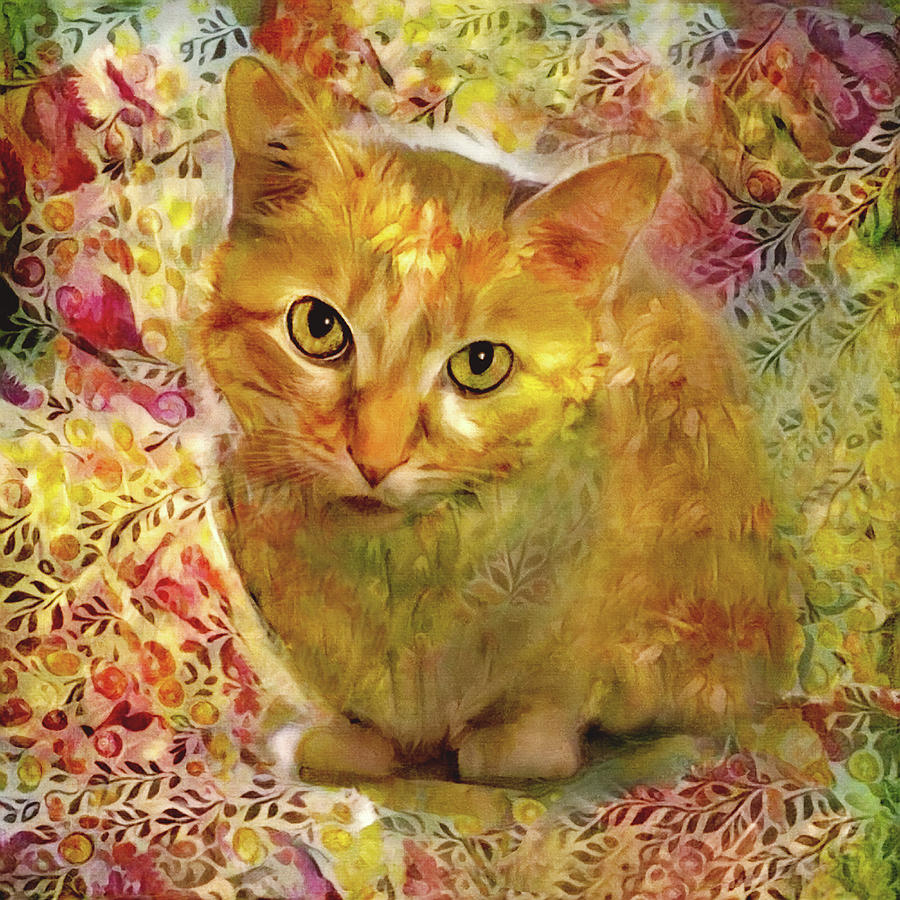 Ginger Cat - Gold Floral by Peggy Collins