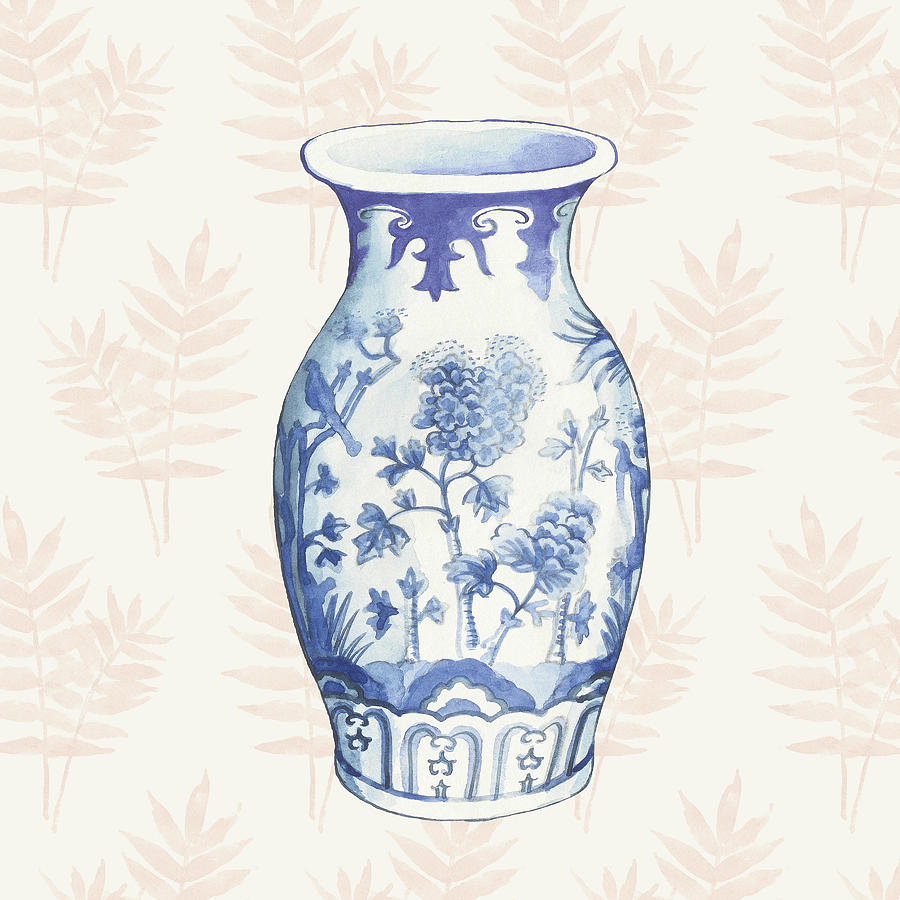 Asian Painting - Ginger Jar II Coral No Border by Wild Apple Portfolio