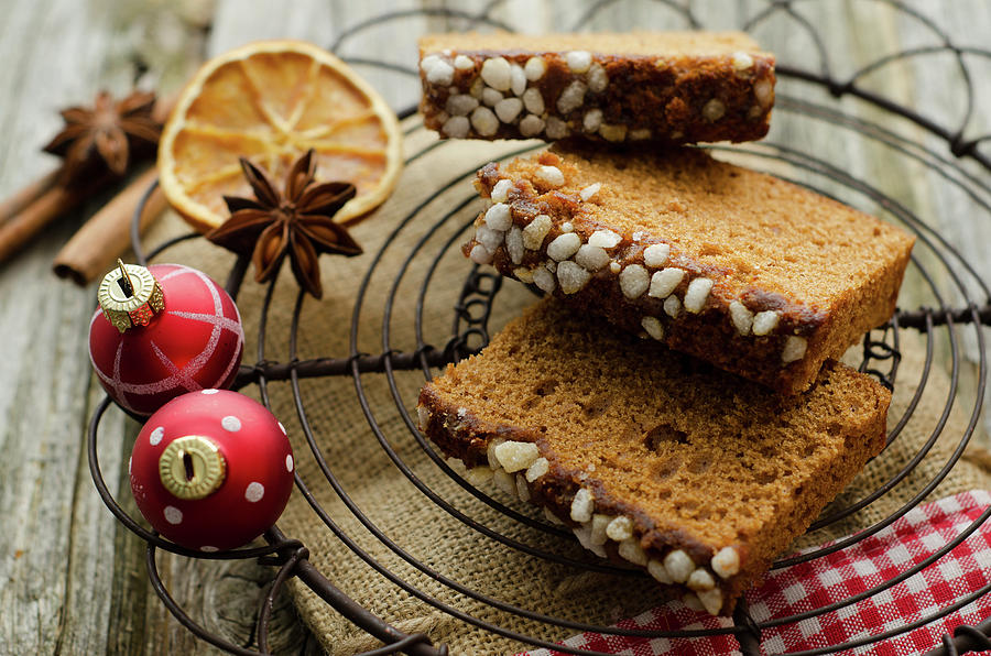 Gingerbread Cake With Christmas Baubles Photograph by Westend61