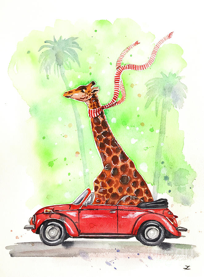 Giraffe In A Beetle Painting