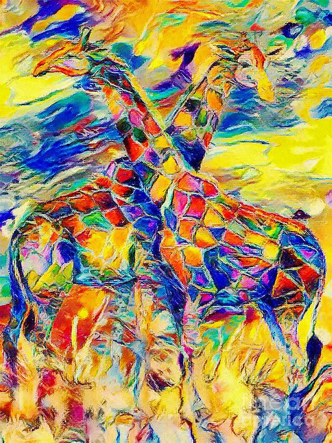 Giraffes Abstract by Olga Hamilton