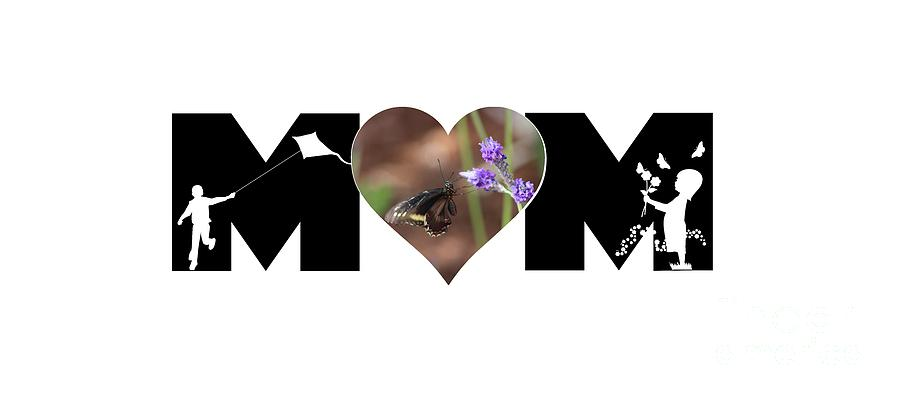 Girl and Boy Silhouette with Butterfly on Lavender in Heart MOM Big Letter by Colleen Cornelius