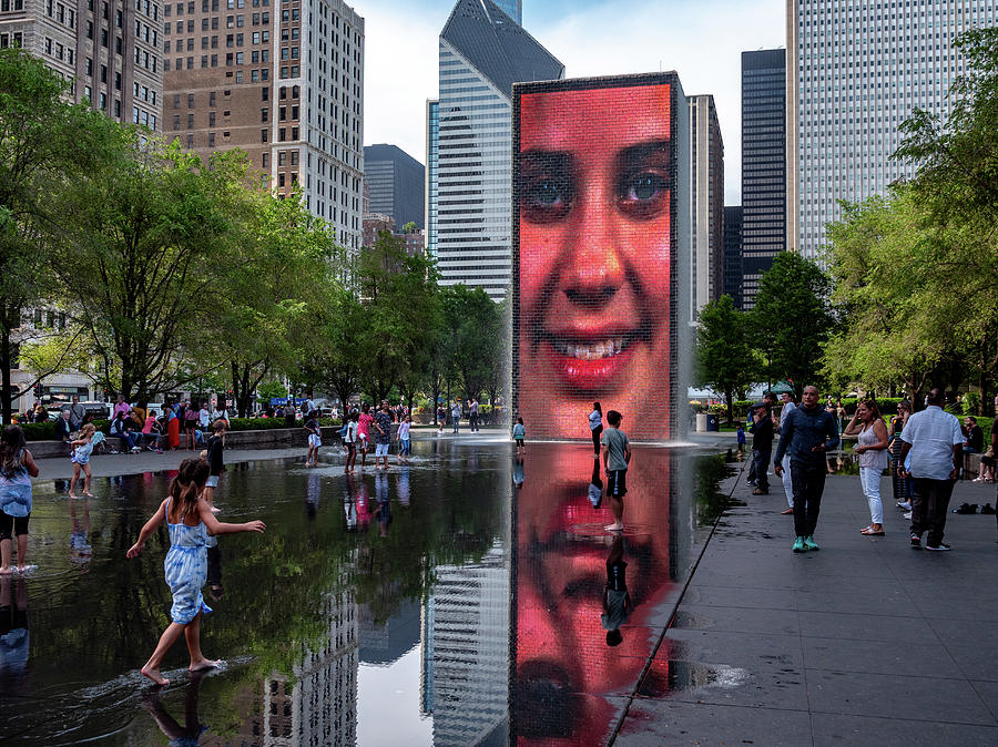 Girl At Crown Fountain Photograph