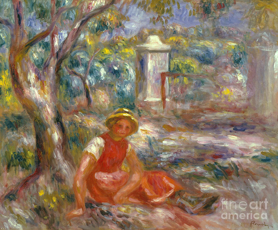 Female Painting - Girl At Gate, Circa 1914 by Pierre Auguste Renoir