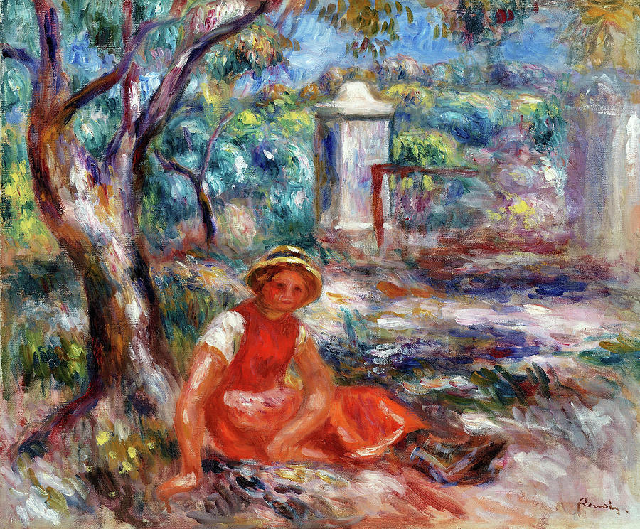 Pierre-auguste Renoir Painting - Girl At The Foot Of A Tree - Digital Remastered Edition by Pierre-Auguste Renoir