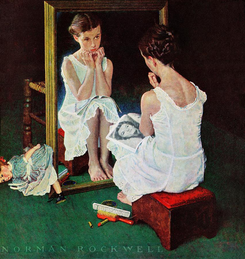 Actresses Drawing - Girl At The Mirror by Norman Rockwell