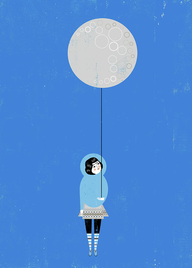 Girl Holding Full Moon Balloon Digital Art by Luciano Lozano