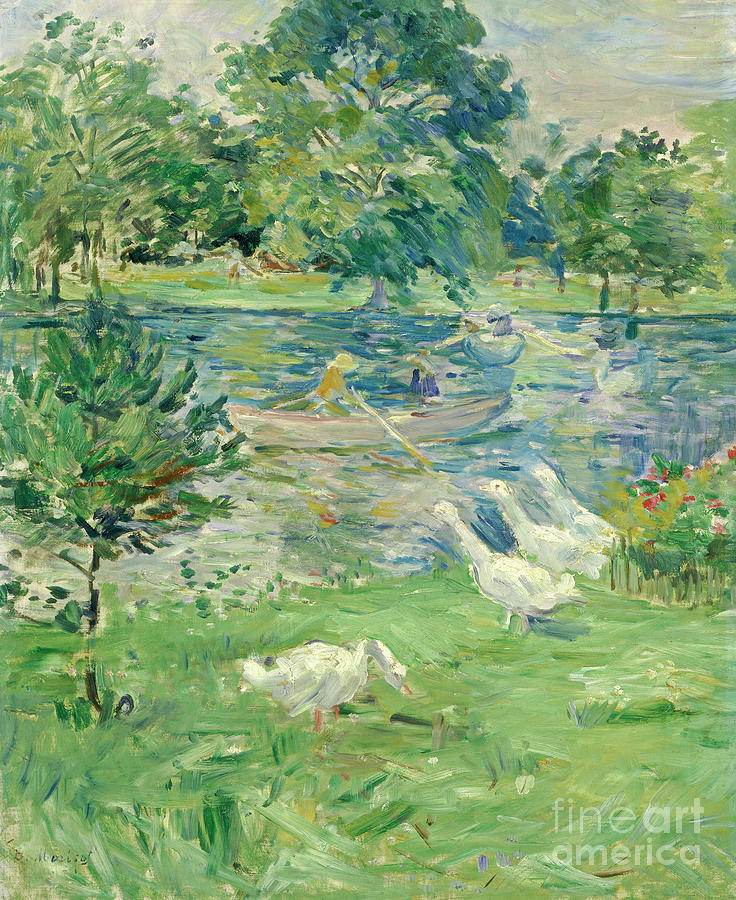Berthe Morisot Painting - Girl In A Boat With Geese, 1889  by Berthe Morisot