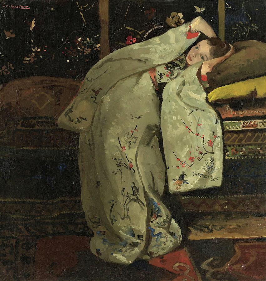 Kimono Painting - Girl In A White Kimono #2 - Top Quality Image Edition by George Hendrik Breitner