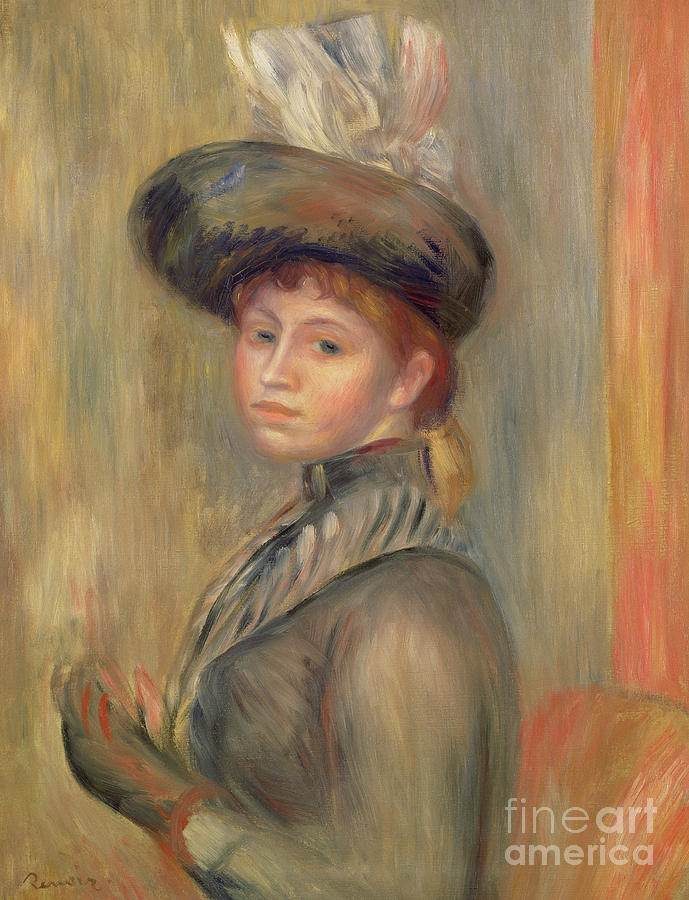 Bonnet Painting - Girl In Grey Blue, Putting On Her Glove, Circa 1889 by Pierre Auguste Renoir