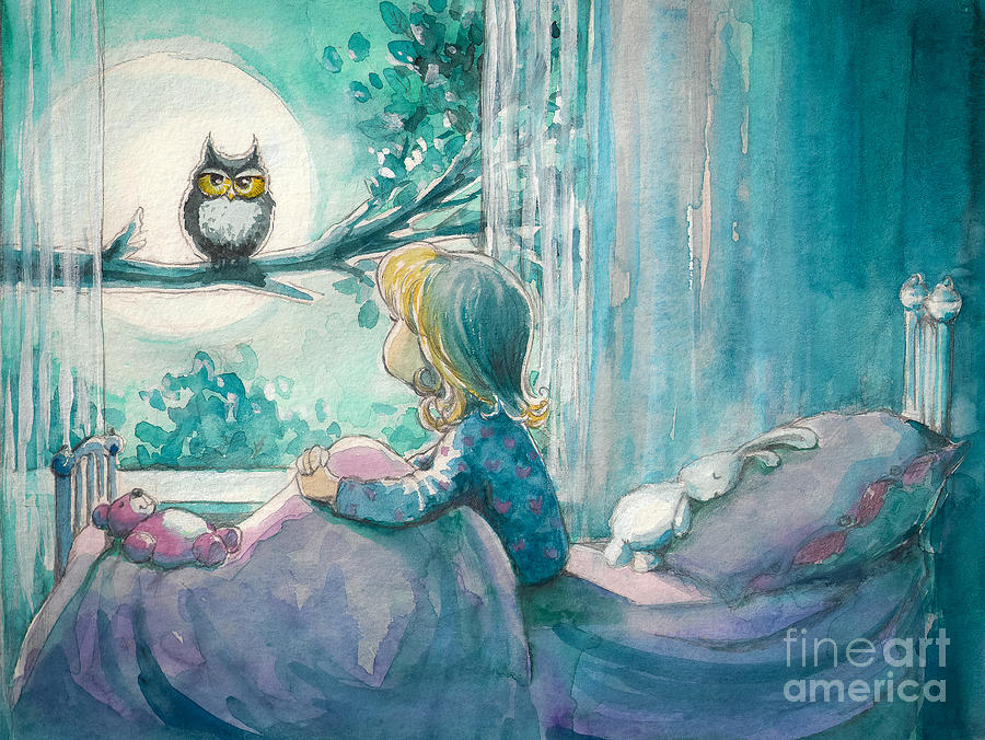 Bed Digital Art - Girl In Her Bed Looking At Owl by Deepgreen
