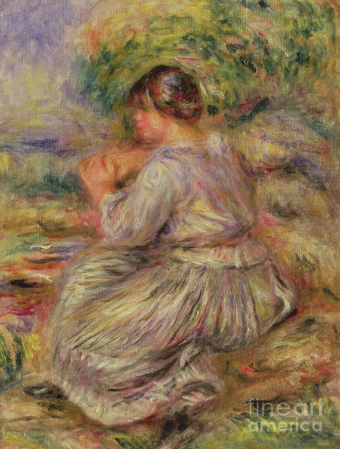 Female Painting - Girl In Landscape Circa 1914 by Pierre Auguste Renoir