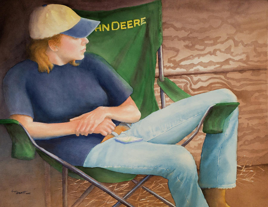 Girl in the John Deere Chair at the Fair by George Harth