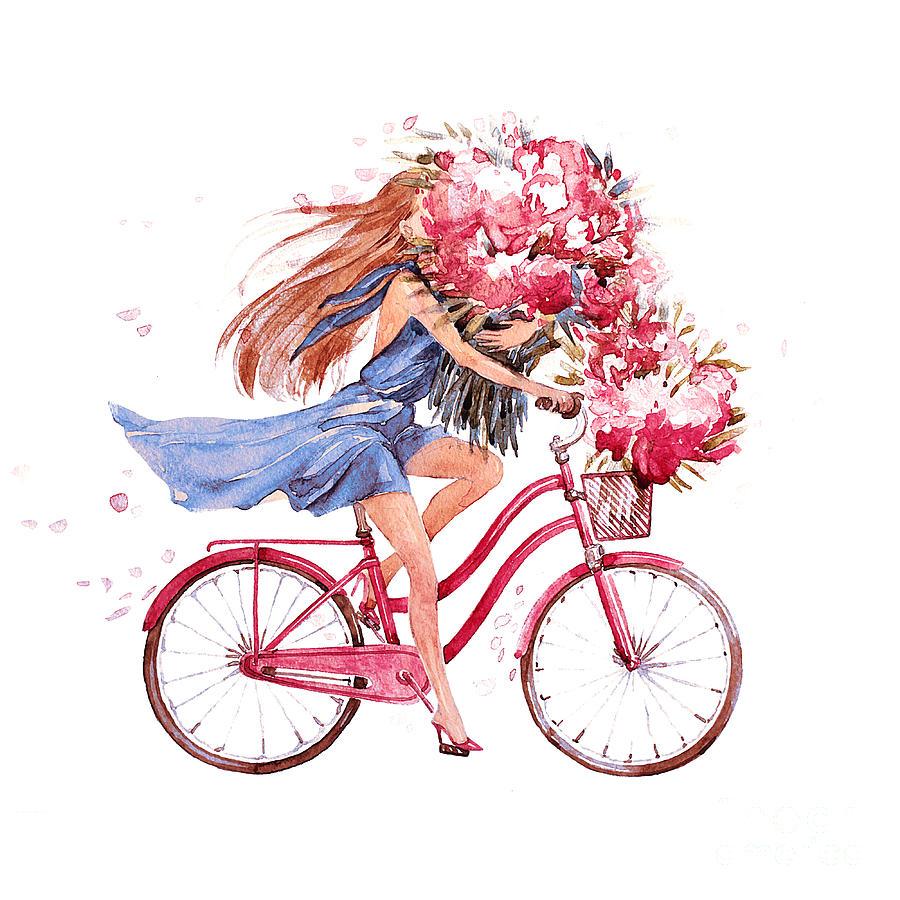 Love Digital Art - Girl On Bike.  Bicycle. Bike. Peony by Julandersen