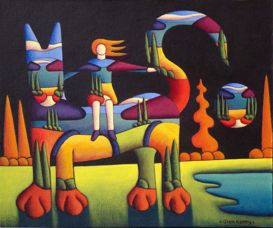 Girl on cat in landscape  by Alan Kenny