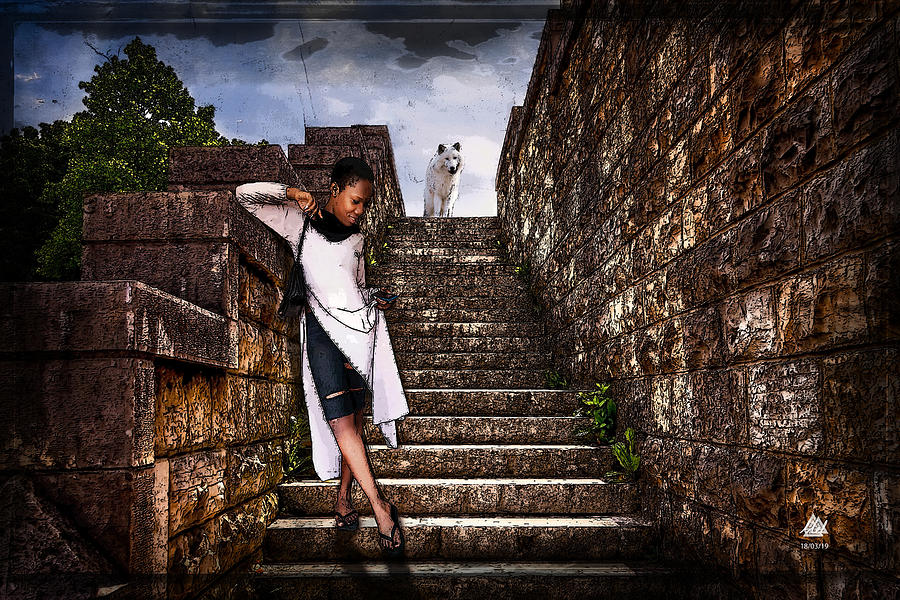 Girl on steps with wolf by Mel Beasley