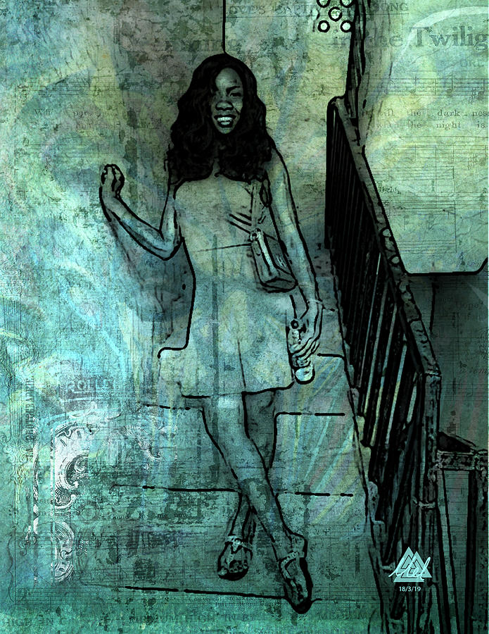 Girl on the stairs. by Mel Beasley