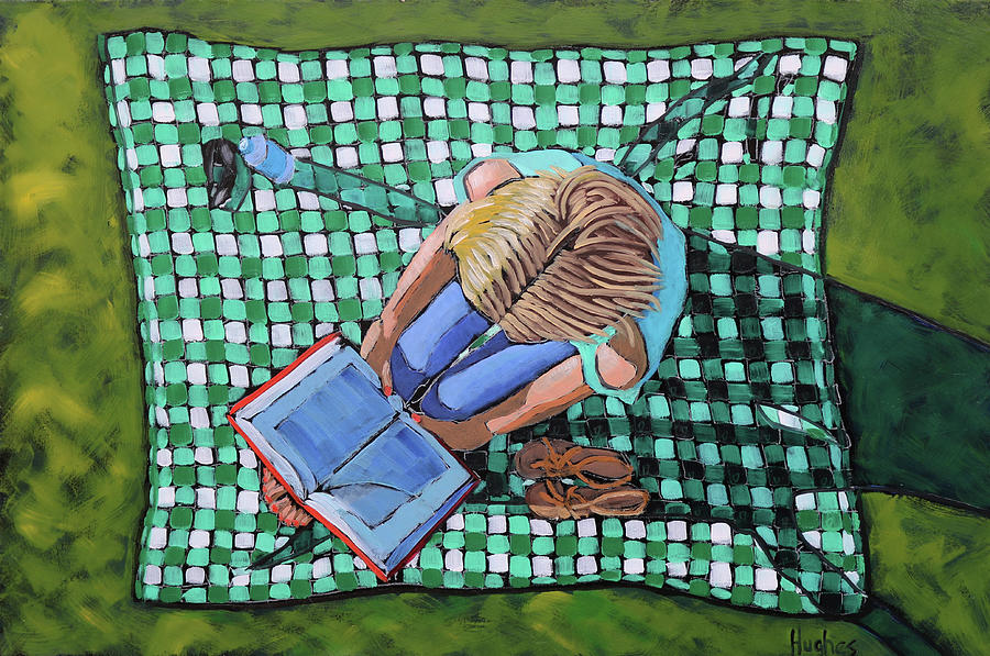 Girl Reading on Blanket by Kevin Hughes