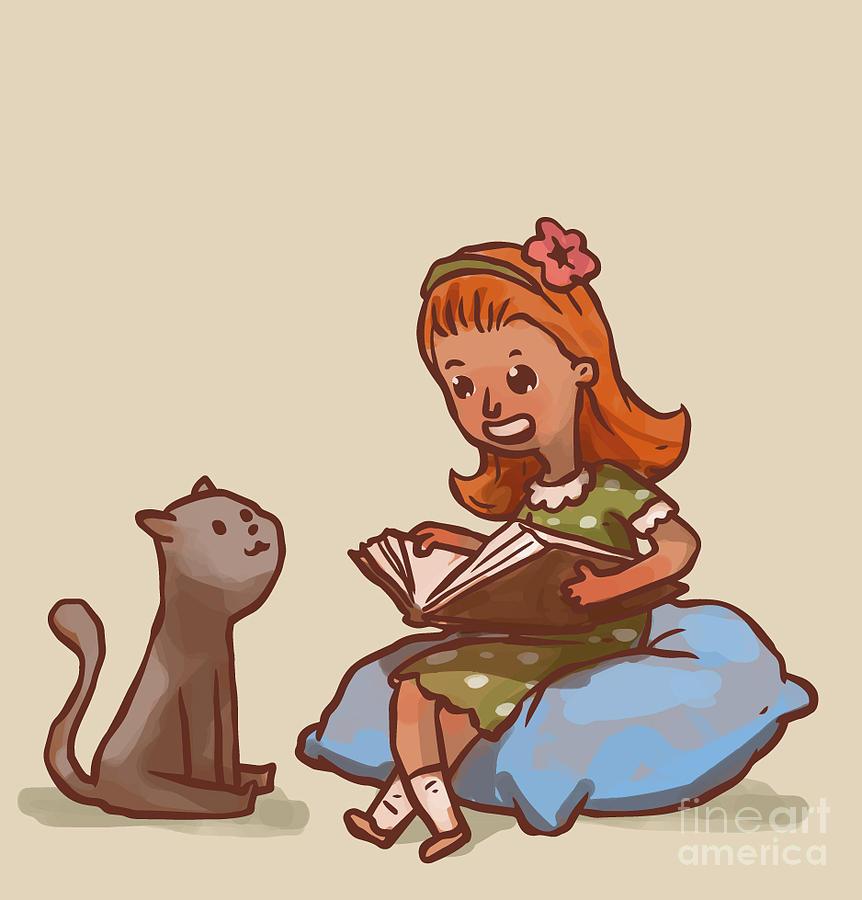 Big Digital Art - Girl Reads Book To Cat, Vector by Ivan nikulin