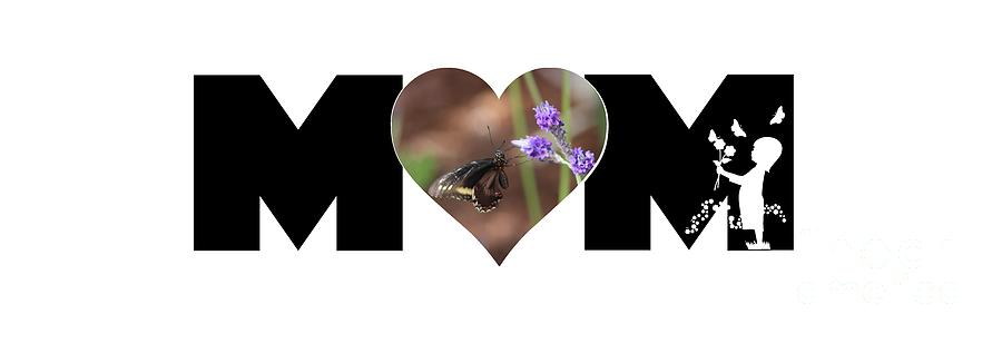 Girl Silhouette and Butterfly on Lavender in Heart MOM Big Letter by Colleen Cornelius