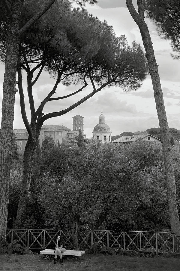 Girl Sitting on a Bench Beneath Umbrella Pines on Palatine Hill Rome Italy in Black and White by Angela Rath