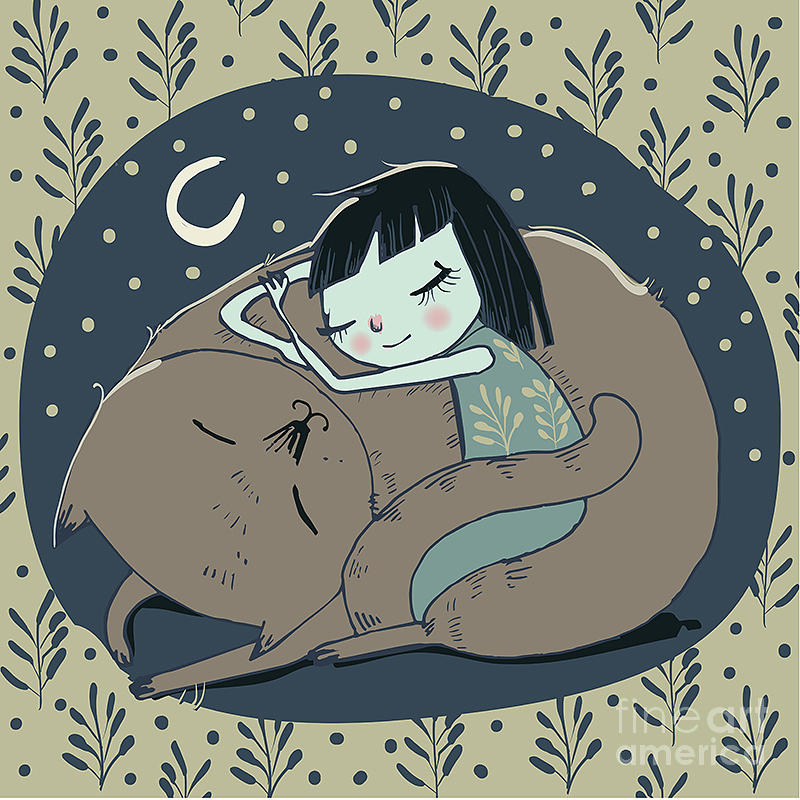 Beauty Digital Art - Girl Sleeps With Cat by Elena Barenbaum