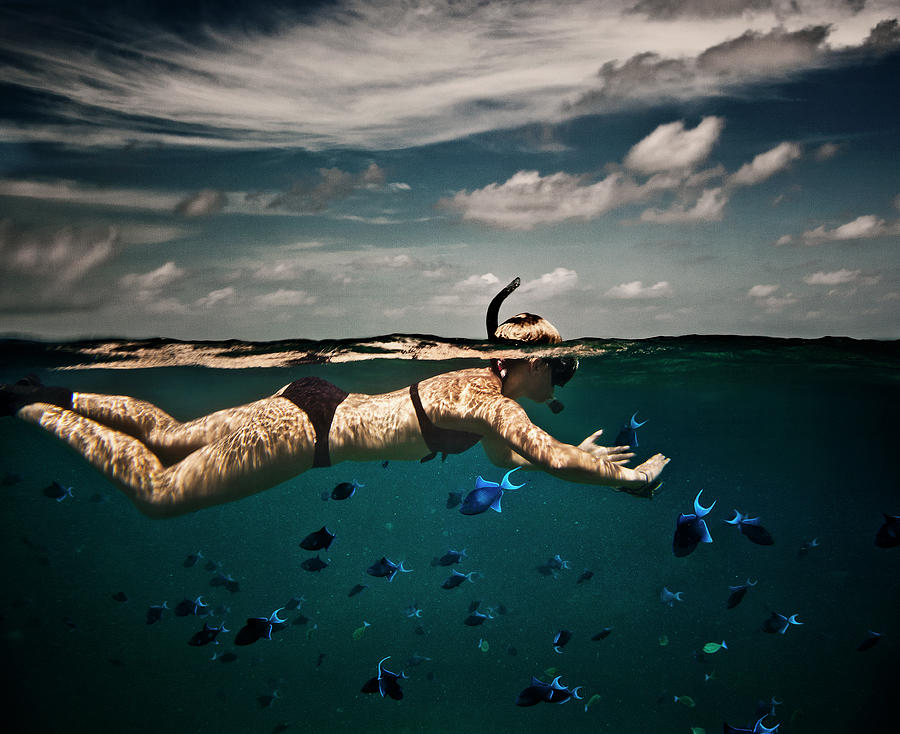 Girl Snorkelling In Indian Ocean Photograph by Rjw