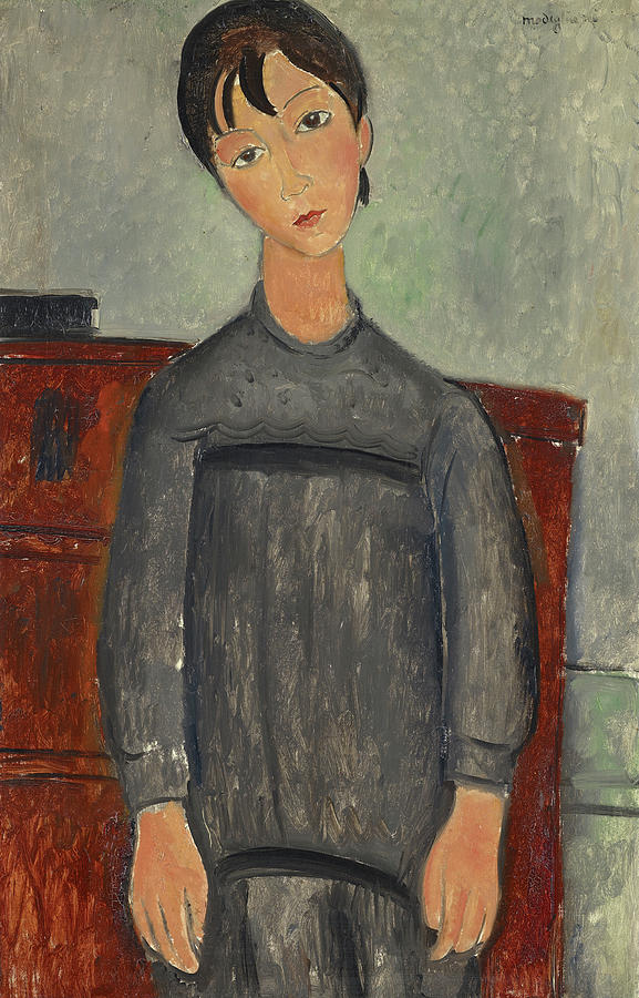 Amedeo Modigliani Painting - Girl Standing In Black Pinafore by Amedeo Modigliani