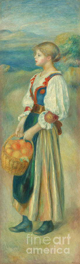 1889 Painting - Girl With A Basket Of Oranges, Circa 1889  by Pierre Auguste Renoir