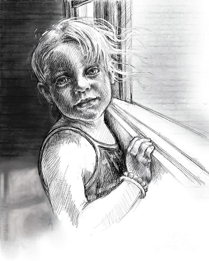 Girl with a Beaded Bracelet by Lora Serra