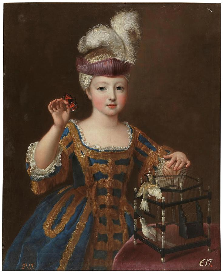 Pierre Gobert Painting - girl With A Bird Cage. Ca. 1712. Oil On Canvas. by Pierre Gobert