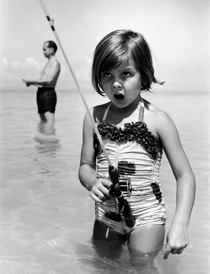 Girl With A Fishing Rod Photograph by Alfred Eisenstaedt