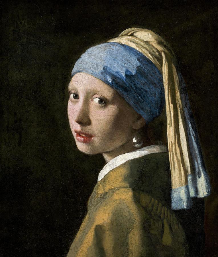Johannes Vermeer Painting - Girl With A Pearl Earring, Circa 1665  by Johannes Vermeer