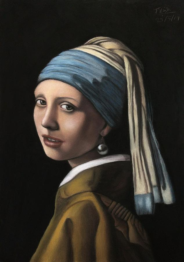Girl With A Pearl Earring Pastel - Girl With A Pearl Earring by Vishvesh Tadsare