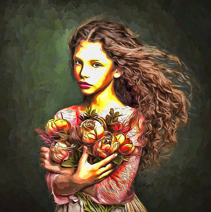 Girl With Flower Portrait 2 Painting