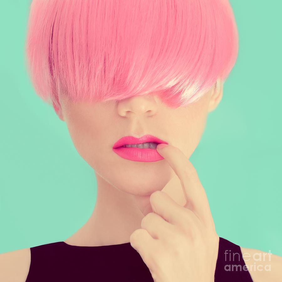 Makeup Photograph - Girl With Pink Hair. Fashionable Trend by Evgeniya Porechenskaya