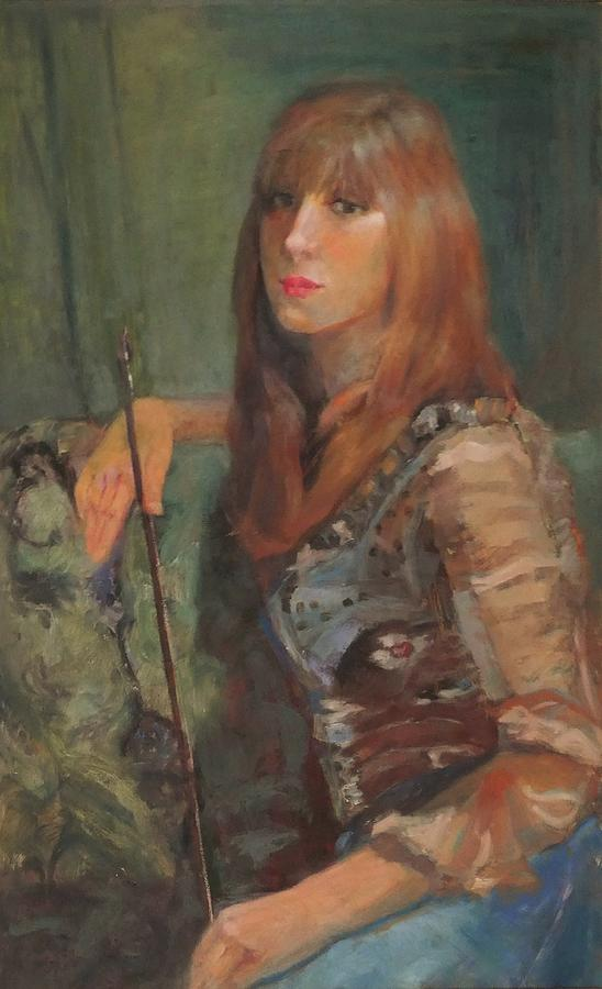 Girl Painting - Girl With The Bow by Irena Jablonski