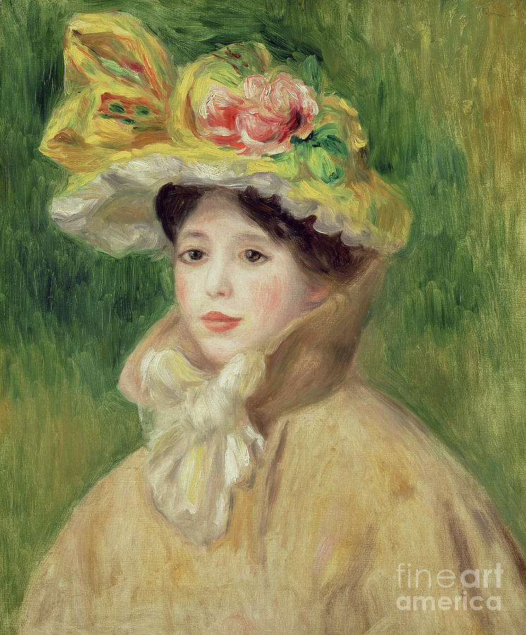 Green Painting - Girl With Yellow Cape, 1901 by Pierre Auguste Renoir