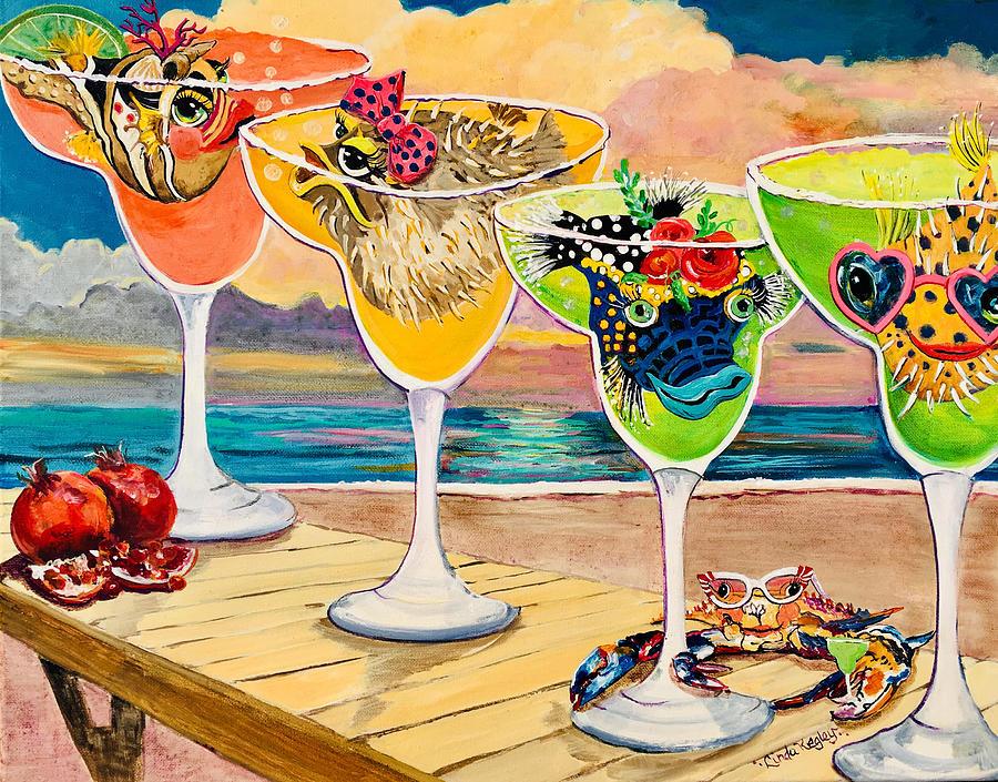 Margaritas Painting - Girlfins Margarita Party by Linda Kegley