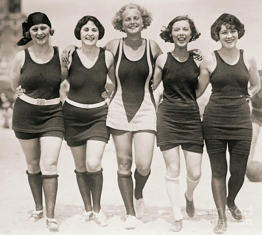 Smiling Photograph - Girlfriends At The Beach In Bathing Suits, 1920s by American School