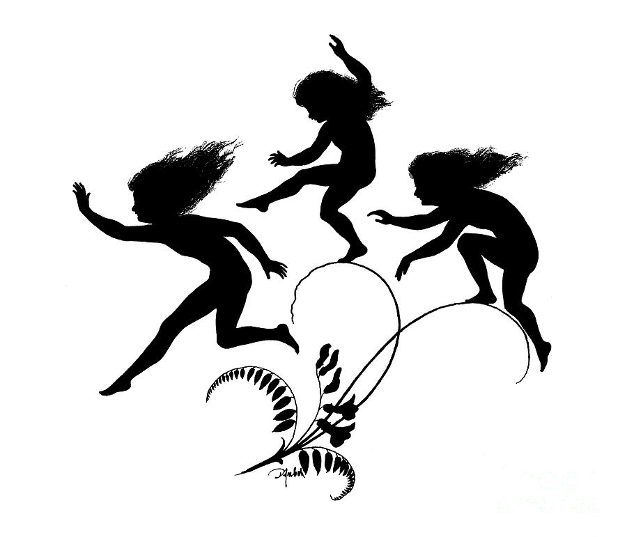 Kid Drawing - Girls Jumping Illustration For Gottliche Jugen Ein Tag Aus Dem Sonnenlande by Karl Wilhelm Diefenbach